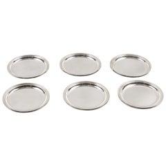Jezler Switzerland Modernist Barware Serving Sterling Silver Coaster, Set of Six