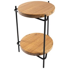 "Modern Brazilian Side Table in Solid Wood and Steel, ""Janice"" by Samuel Lamas"