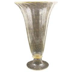 Large Italian Art Glass Murano Avventurina Sculptural Vase Gold Flakes & Bubbles