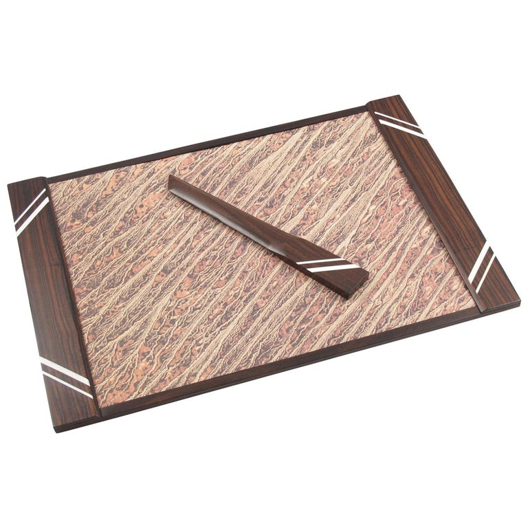 French Art Deco Macassar Wood Desk Set Blotter Pad and Letter Opener