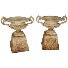 Pair of Antique Cast Iron Vases on Pedestals from Besancon France, circa 1915