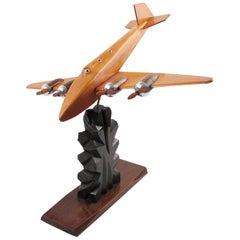 French Art-Bois Studio Art Deco Wooden Airplane Aviation Model