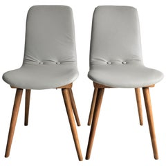 Set of Two Natural Leather Beige Chairs from 1970s