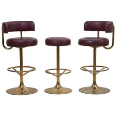 Set of 3 Brass Börje Johansson Bar Stools by Johansson Design, Signed