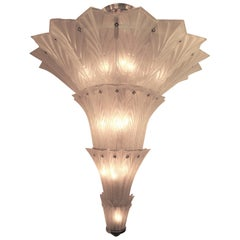 Palatial, Gigantic French Art Deco Art Glass Chandelier by Sabino