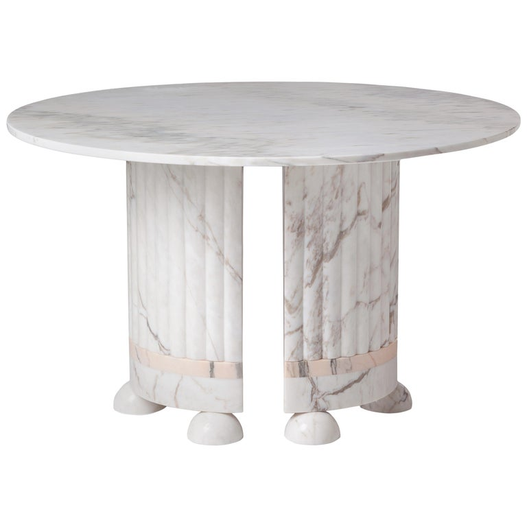 Dome Marble Dining Table, Contemporary Round Table in White and Rose Marble For Sale