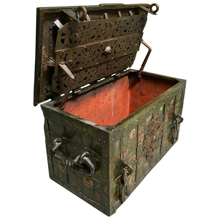 German 17th Century Painted Iron Armada Chest For Sale