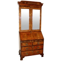 George II Inlaid Walnut Bureau Cabinet