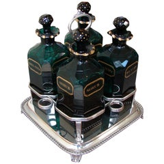 English Cut and Gilt Glass 4 Bottle Decanter Set
