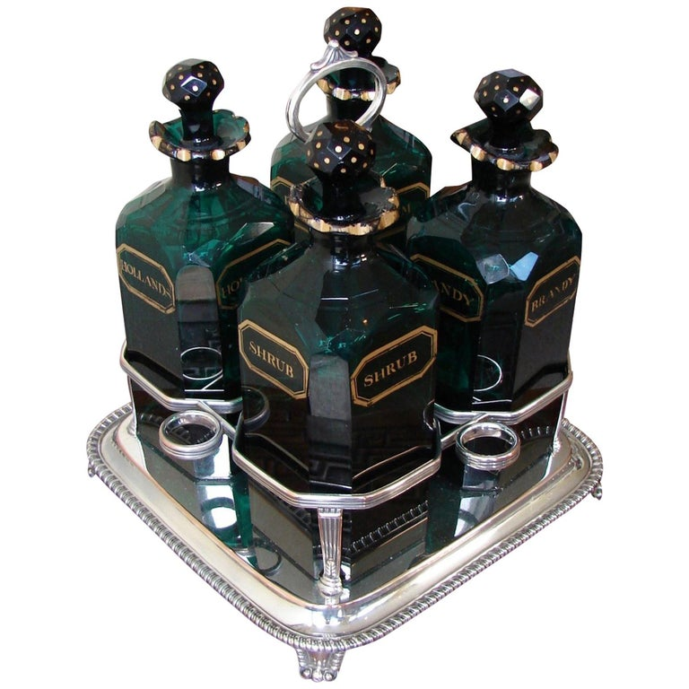English Cut and Gilt Glass 4 Bottle Decanter Set For Sale