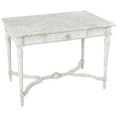 19th Century French Louis XVI Style Hand-Carved and Painted Centre Table, Desk