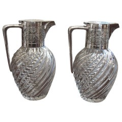 Pair of Spiral Glass and Silver Claret Jugs