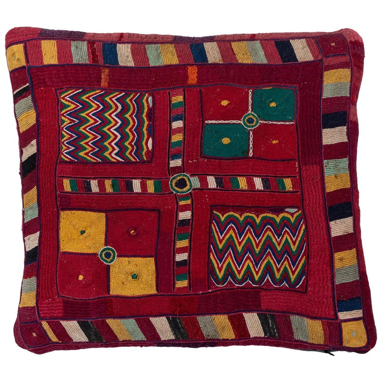 Indian Banjara Embroidered Pillow For Sale