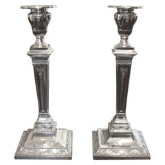 Pair of English Sterling Silver Adam Style Candlesticks