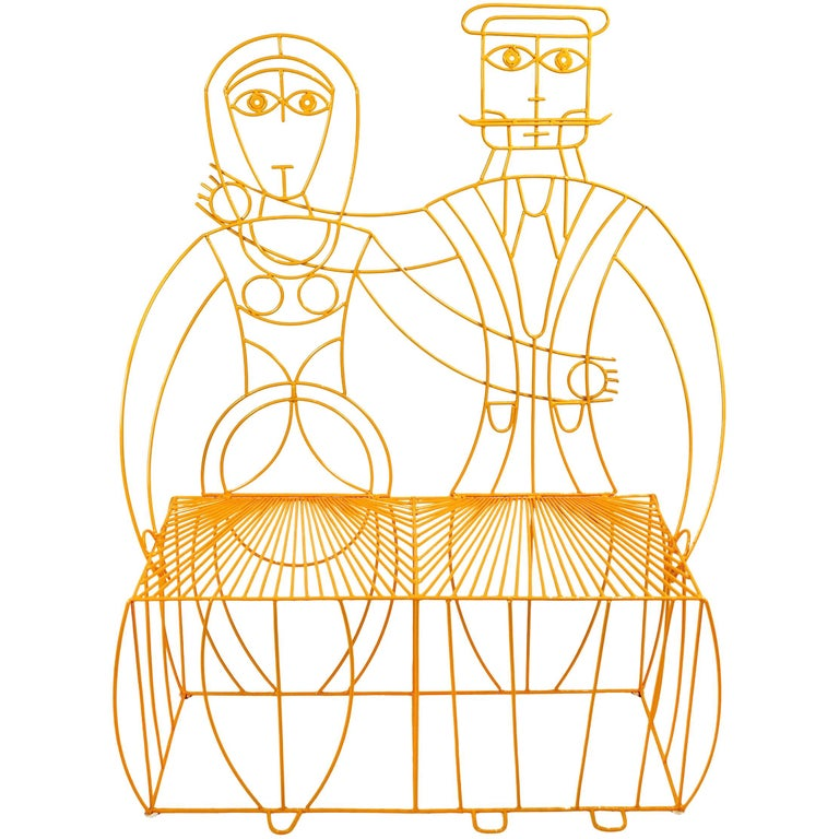John Risley Monsieur & Mademoiselle Patio Bench Sculpture