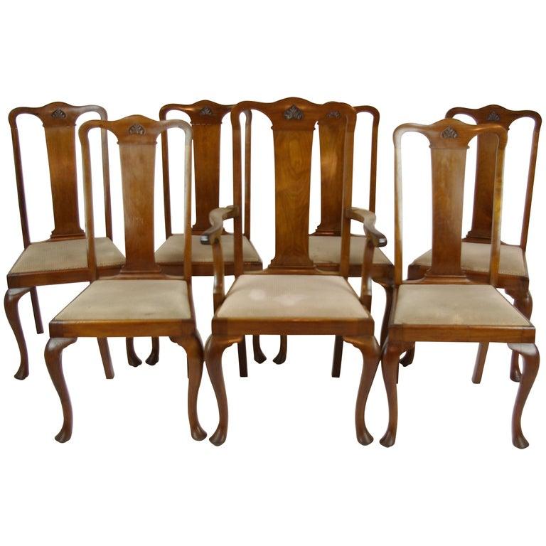 Antique Walnut Chairs, Queen Anne Chairs, Mahogany Dining Chairs, B1196 For  Sale - Antique Walnut Chairs, Queen Anne Chairs, Mahogany Dining Chairs
