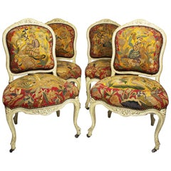 Four French 19th Century Louis XV Style White-Lacquer & Needlepoint Side Chairs
