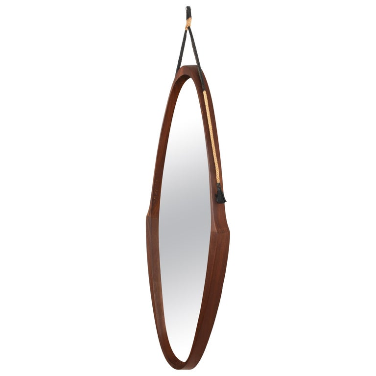 Oval Teak Framed Mirror, Italian Wall Mirror, Rope and Leather, Italy 1950s