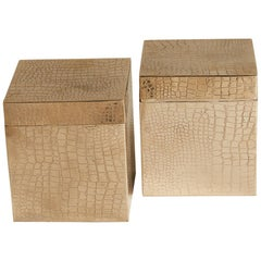 1980s French Pair of Crocodile Embossed Silver Boxes