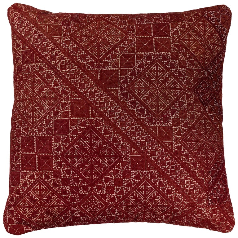 Antique Moroccan Fez Embroidery Pillow For Sale