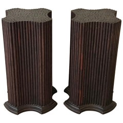 Pair of Regency Style Dark Wood Pedestals