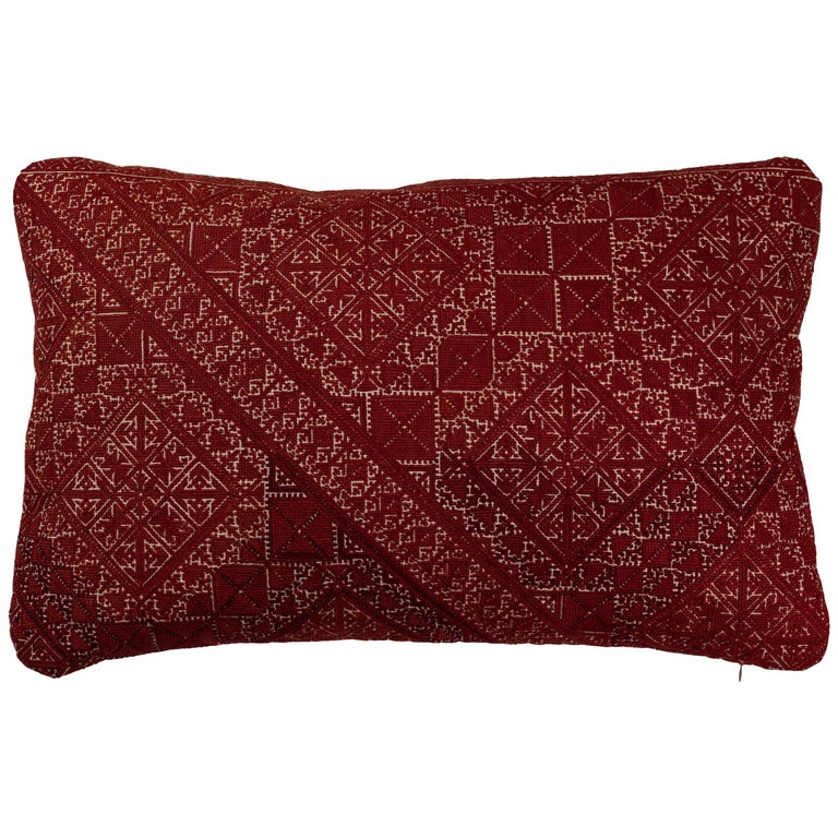 Antique Moroccan Fez Embroidered Pillow  For Sale