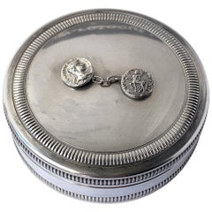 Christian Dior France 1970s Silver Plated Round Decorative Box. Jewel Case