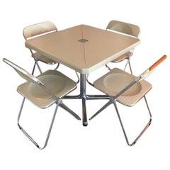 Mid-Century Modern Giancarlo Piretti for Castelli Plia Table and 4 Chair Set