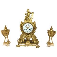 Louis XV Ormolu Mantel Clock by S. Marti Et Cie with Garniture Set