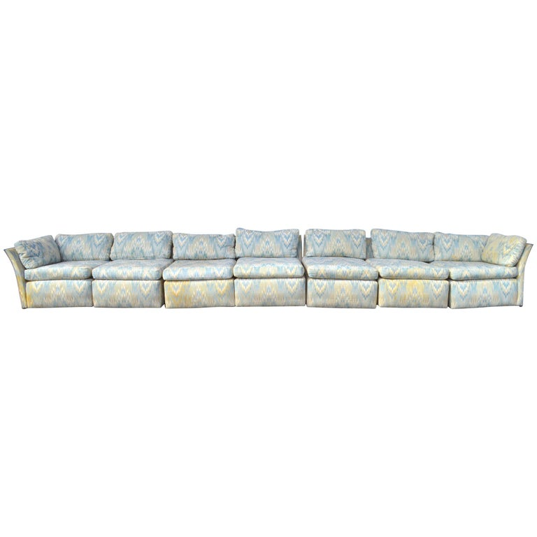 Super Long Chrome Frame Sectional Box Sofa Attributed to Baughman