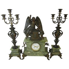 French Figural 3-Piece Garniture Clock Set