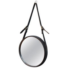 French Leather Round Wall Mirror