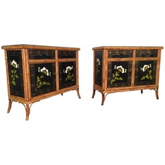 Pair of Asian Hand-Painted Bamboo Cabinets, circa 1950s