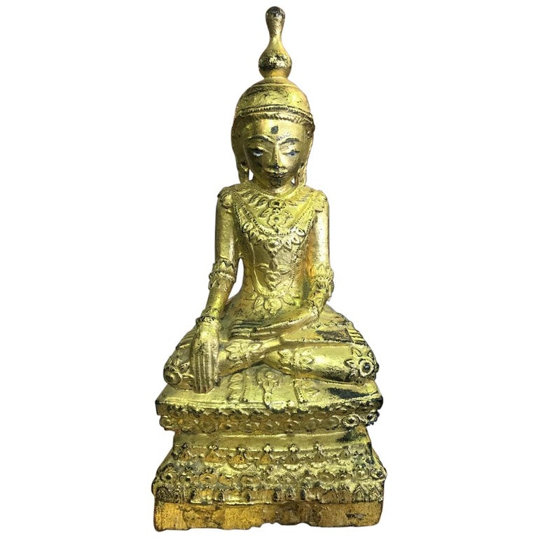 Carved Wood, Lacquered and Gilt Seated Temple Buddha
