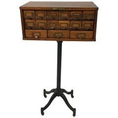 Custom Industrial Cast Iron Pedestal Oak Cabinet
