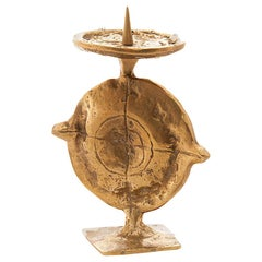 Candle Holder in Brass, from France 1960, Brutalist Shape, Brass Patina Colored