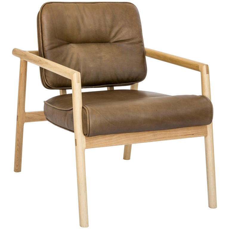 Chris Earl Natural Oak, Olive Leather Moresby Armchair For Sale