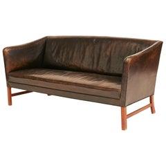 Ole Wanscher Leather Sofa, Original Design, 1955