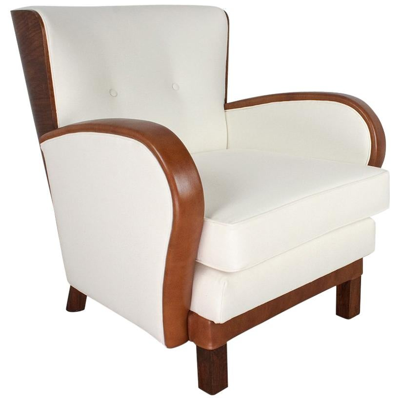 Merveilleux Art Deco Antique Lounge Chair In Leather, Elm And Felt, 1930s Holland