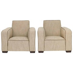 Pair of French Art Deco Upholstered Armchairs, circa 1930s