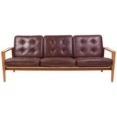 "Mid Century Oak & Leather Sofa Model ""Kastrup"" by Erik Wørtz"