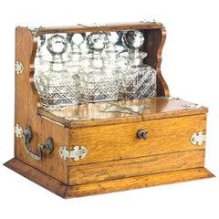 19th Century English Victorian Oak Three Crystal Decanter Tantalus