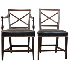 9 Antique Dining Chairs, 2 x Carvers, 6 Plus 1 Spare Side, Regency, circa 1815
