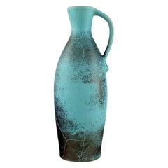 Richard Uhlemeyer, German Ceramist. Pottery Pitcher, Beautiful Crackled Glaze