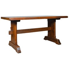 Oak Dining Table, English, Refectory, Arts & Crafts, after Mouseman Seats Six