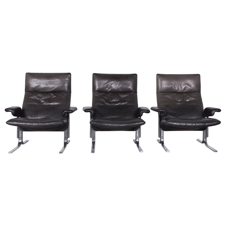 De Sede DS 2030 Designer Armchair Set Leather Black
