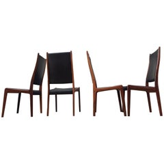 Danish Modern Rosewood & Black Leather Dining Chairs by Johannes Andersen, 1960s