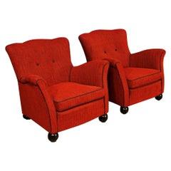 Fede Cheti 20th Century Red Fabric Italian Design Pair of Armchairs, 1950