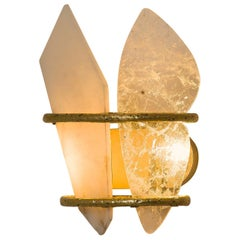 Two Free Wall Sconce Sculpture Light Object Rock Crystal Onyx Cast Brass