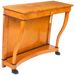 Early 20th Century Biedermeier Maserbirch Console Table
